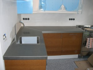 keukenblad uitgevoerd in zink Nova